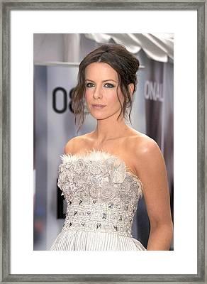 Kate Beckinsale Wearing An Elie Saab Framed Print