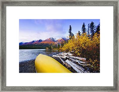 Kathleen Lake And Mountains, Kluane Framed Print