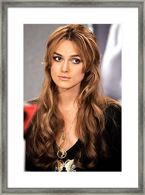 Keira Knightley At The Press Conference Framed Print by Everett