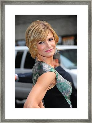 Kyra Sedgwick Wearing An Antonio Framed Print