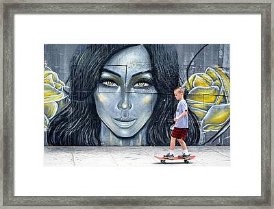 Lady And The Rose Framed Print by Fraida Gutovich