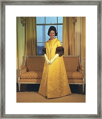 Lady Bird Johnsons Inaugural Gown. The Framed Print by Everett