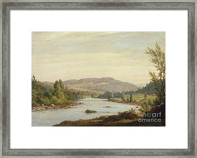 Landscape With River Framed Print by Sanford Robinson Gifford