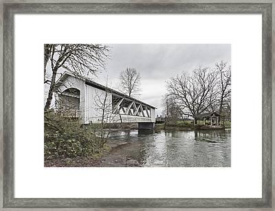 Larwood Covered Bridge Spanning Framed Print by Douglas Orton