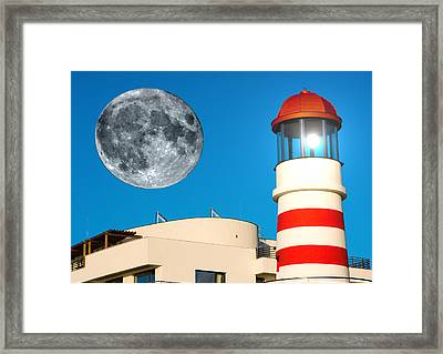 Lighthouse And Moon Framed Print
