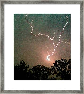 Lightning Strike Framed Print by Kristina Chapman