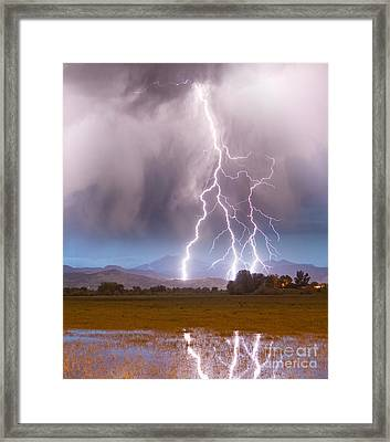 Lightning Striking Longs Peak Foothills 6 Framed Print