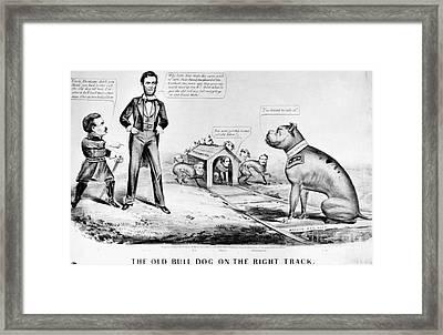 Lincoln: Cartoon, 1864 Framed Print by Granger
