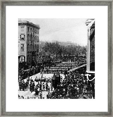 Lincolns Funeral Procession, 1865 Framed Print by Photo Researchers