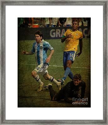 Lionel Messi Breaking Raphael Cabrals Ankles II Framed Print by Lee Dos Santos