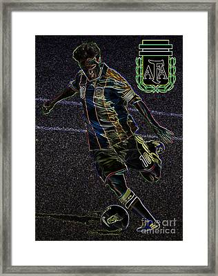 Lionel Messi Kicking Viii Framed Print by Lee Dos Santos