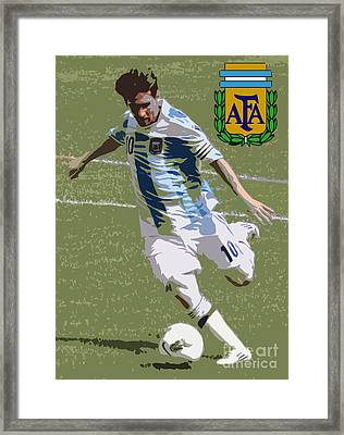 Lionel Messi The Kick Art Deco Framed Print by Lee Dos Santos