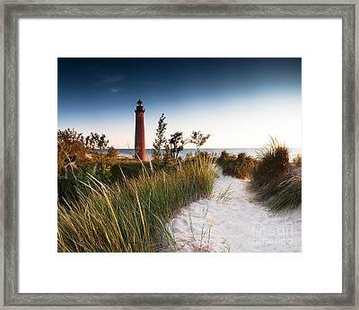 Little Sable Point Light Station Framed Print by Larry Carr