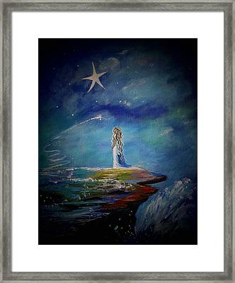 Little Wishes By The Sea Framed Print by Leslie Allen