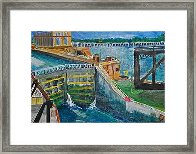 Lock And Dam 19 Framed Print
