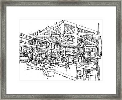 Framed Print featuring the drawing Lodge by Andrew Drozdowicz