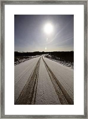 Logging Road In Winter Framed Print