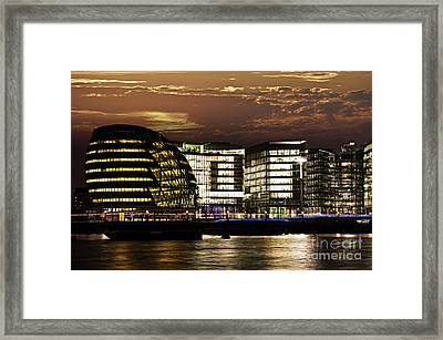 London City Hall At Night Framed Print by Elena Elisseeva
