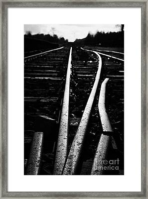 low angle on old junction railway line at Charlestown county mayo republic of ireland Framed Print by Joe Fox