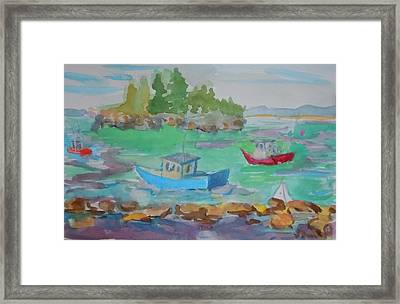 Lubec Lobster Boats Framed Print