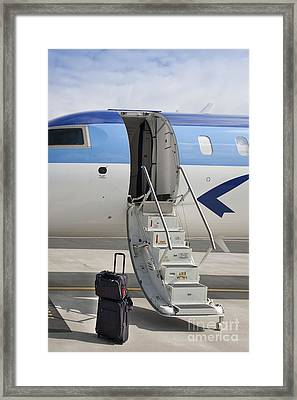Luggage Near Airplane Steps Framed Print