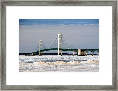 Mackinac Bridge In Winter Framed Print