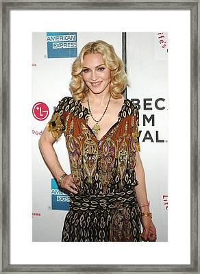 Madonna Wearing A Gucci Dress Framed Print