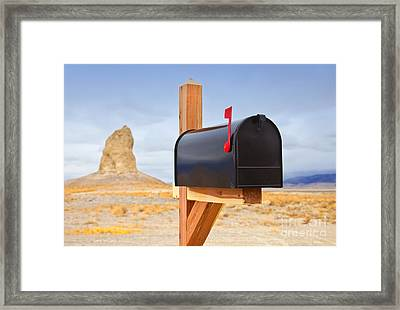 Mailbox In Desert Framed Print by David Buffington