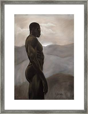 Man Looking At Sunset Framed Print by L Cooper