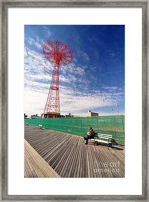 Man On A Bench Framed Print by Mark Gilman