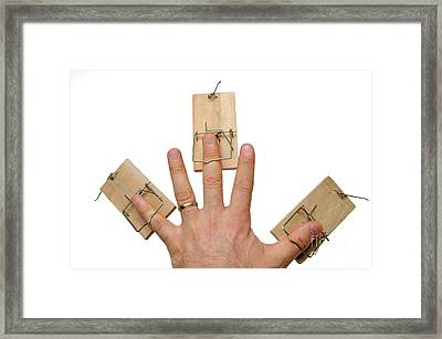 Man's Hand With Three Mousetraps On Fingers Framed Print