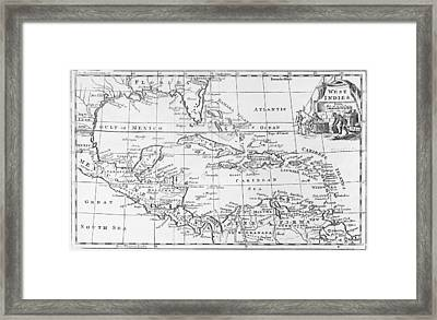 Map Of The West Indies Florida And South America Framed Print by English School