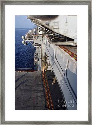 Marines And Sailors Fast-rope Framed Print