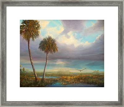 Framed Print featuring the painting Marsh Launch by AnnaJo Vahle