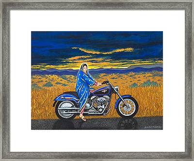 Mary And The Motorcycle Framed Print