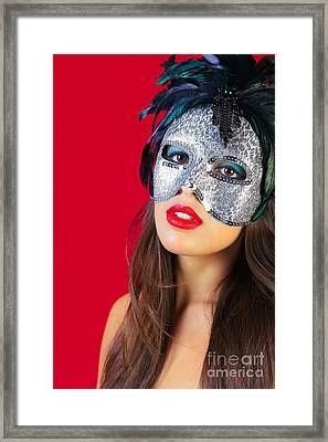 Masquerade Mask Red Background Framed Print by Richard Thomas