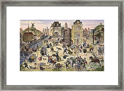 Massacre Of Huguenots Framed Print by Granger