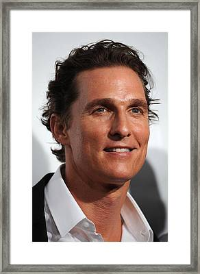Matthew Mcconaughey At Arrivals Framed Print by Everett