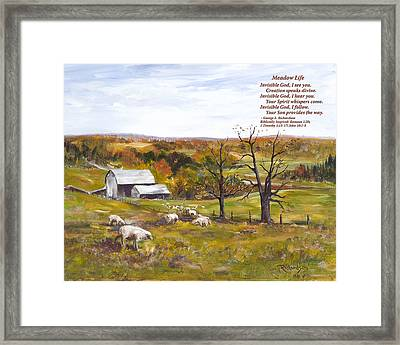 Meadow Life With Poem Framed Print