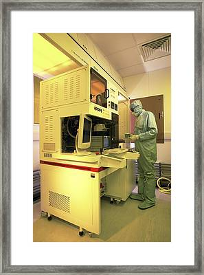 Mems Production, Flip Chip Bonding Framed Print by Colin Cuthbert