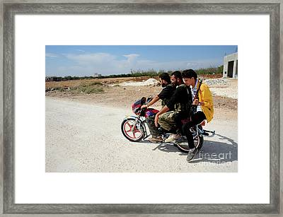 Men From The Free Syrian Army Framed Print by Andrew Chittock