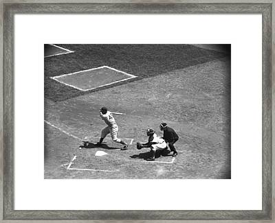 Men Playing Baseball, (b&w), Elevated View Framed Print by George Marks