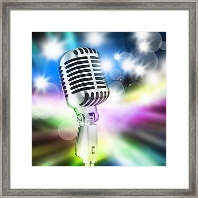 Microphone On Stage Framed Print by Setsiri Silapasuwanchai