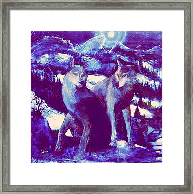 Midnight Wolves Framed Print