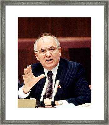 Mikhail Gorbachev During His Presidency Framed Print by Everett