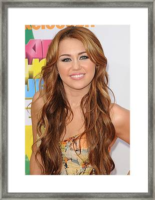 Miley Cyrus At Arrivals Framed Print by Everett