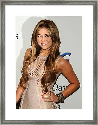 Miley Cyrus In Attendance For Clive Framed Print