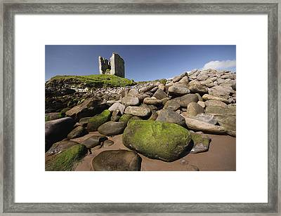 Minard Castle And Rocky Beach Minard Framed Print by Trish Punch