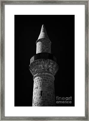 Minaret Of The Small 11th Century Touzla Mosque In Larnaca Republic Of Cyprus Framed Print by Joe Fox