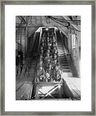Miners In An Open Tram At The Calumet Framed Print